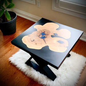 wood and epoxy side table