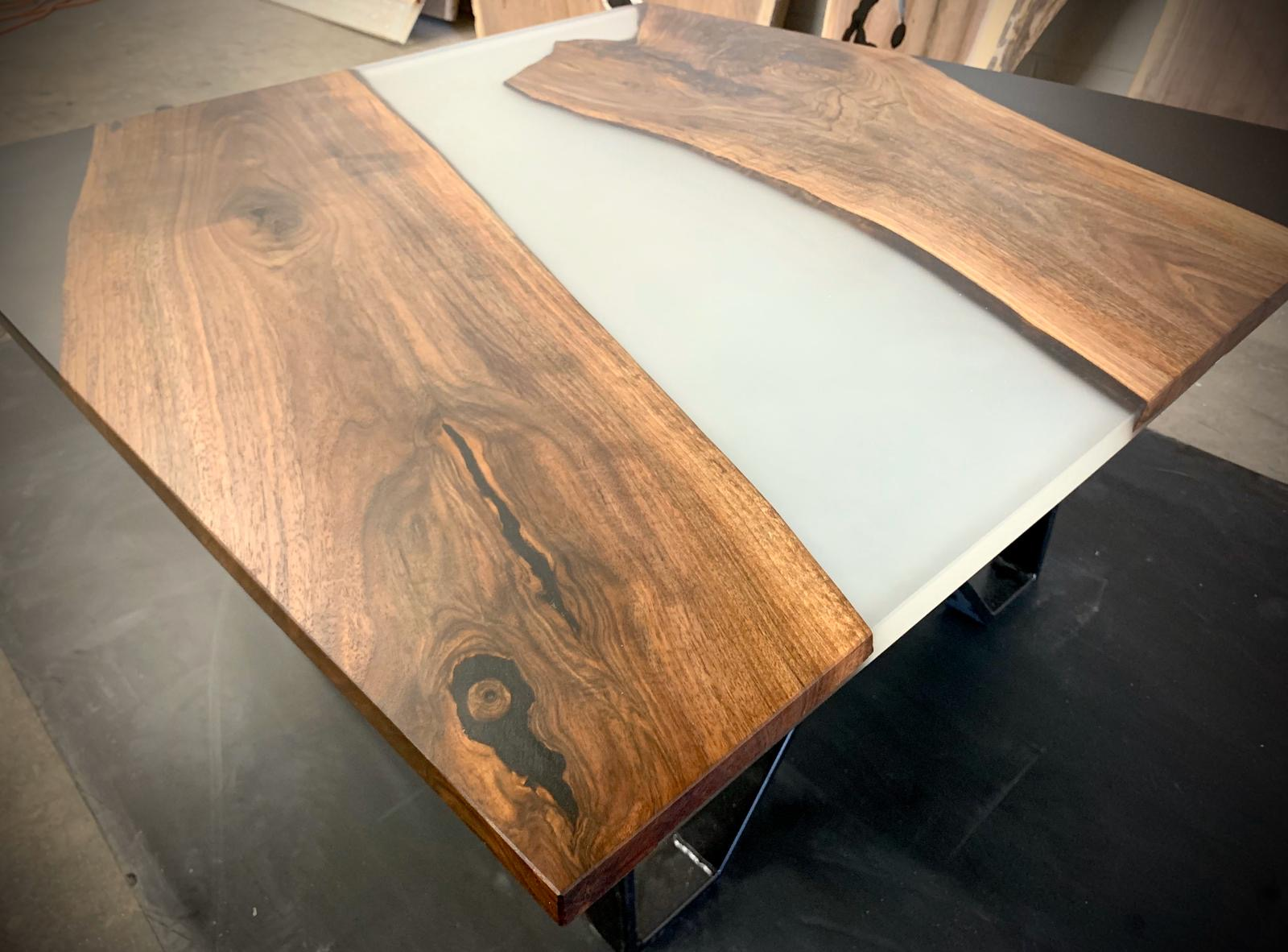 Coffee Table Black Walnut Wood With Black And White Epoxy Resin Woodwork Stories
